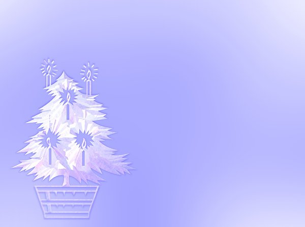 Christmas Tree With Candles: A white 3d Christmas tree against a blue background, with candles. Made from a dingbat free for commercial use.
