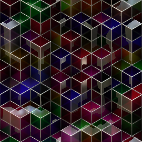 Blocks 1: An abstract image of dark and glossy 3d blocks with metallic edges, in a variety of colours.