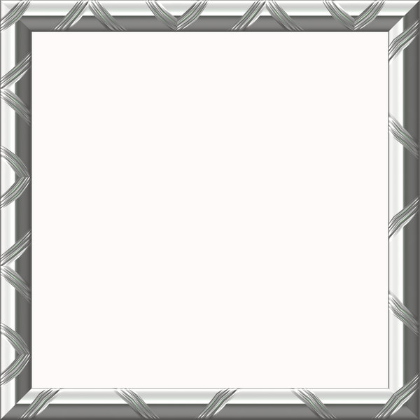 Metallic Frame: An ornamental metallic frame in silver. Shape can easily be changed from square to rectangular. Hi-res image.