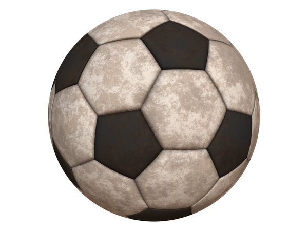 Dirty Soccer Ball: A dirty soccer ball isolated on a white background. Hi-res image. Please use within RGBStock terms of use. You might prefer:  http://www.rgbstock.com/photo/2dyWB2O/Footbal+or+Soccer+Ball
