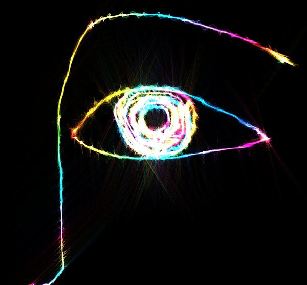 Abstract Eye: A light painting of an eye in rainbow colours on black. Vivid and attention-getting image.