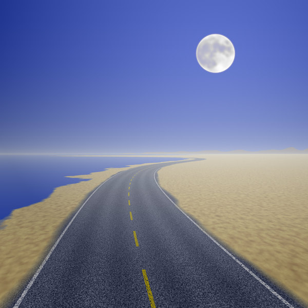 Moving On 1: An empty highway running along the coast, with a moon in the evening sky. You may prefer:  http://www.rgbstock.com/photo/o0V1o32/Moving+On+4
