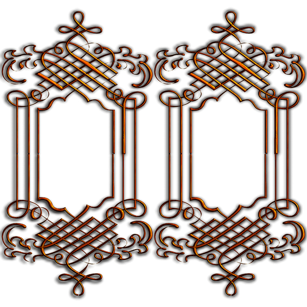 Golden Ornate Border 10: Twin golden ornate borders or frames on a white background. Very elegant and old fashioned in a classic style. Made from a public domain image. You may prefer this:  http://www.rgbstock.com/photo/nXK186c/Golden+Ornate+Border+5  or this:  http://www.rgbsto