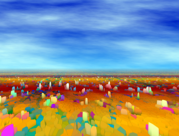 Fantasy Landscape 5: A cubic, rocky fantasy landscape in multiple colours. You may prefer:  http://www.rgbstock.com/photo/mqCnDPu/Otherworld+9  or:  http://www.rgbstock.com/photo/mRC3NCG/Alien+World++2