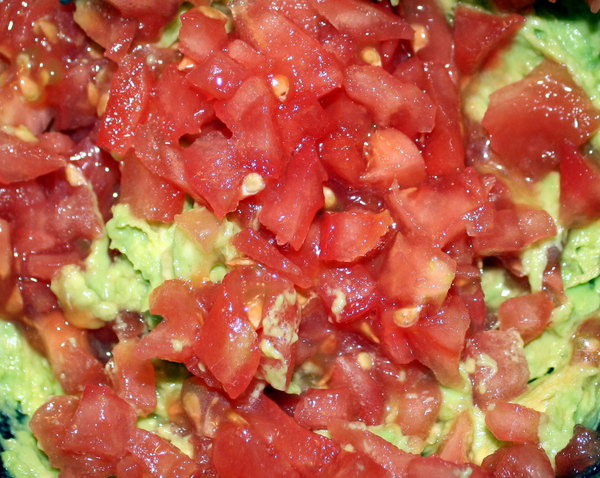 Guacamole 2: A succulent bowl of tomato guacamole in the preparation stage. Chopped tomatoes and mashed avocado. You may prefer: http://www.rgbstock.com/photo/dKTlcc/Tomatoes%2C+Chopped+or+Diced