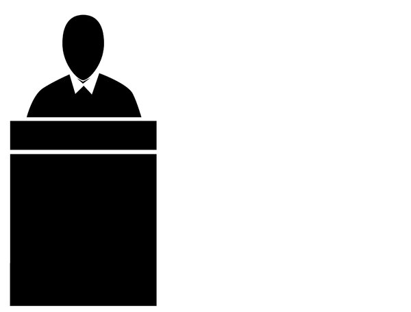 Judge: A pictogram of a judge seated at a bench or an  office worker seated at a desk. Could represent power, a preacher or government.