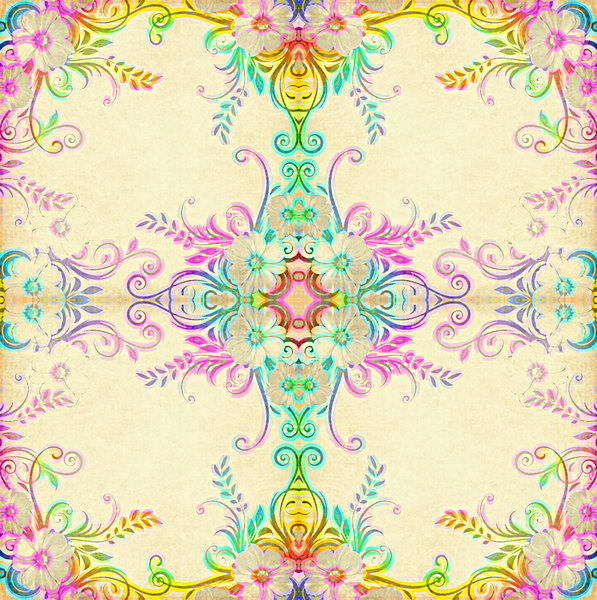 Victorian Tile: A rainbow coloured ornate Victorian tile, made from a public domain image. You may prefer:  http://www.rgbstock.com/photo/nTCGQ2G/Victorian+Border  or:  http://www.rgbstock.com/photo/2dyXq4Y/Layered+Abstract+Frame+2
