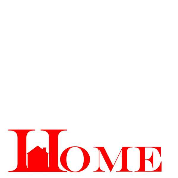 Home Banner 1: Pictogram of the word home on a white background. Contact me for use outside the licence.