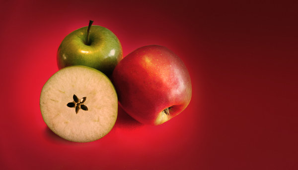 Christmas apples: Three apples on red background which I used as a motif for last year's Christmas postcard.