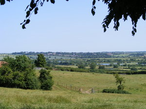Distant Views of an English Vi: Wollaston, Northamptonshire, UK seen across the fields and the valley of the River Nene