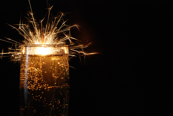 Happy New Year: champagne with sparklers