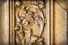 ornamental wood working: Detail of an old ornamental door