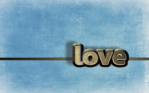 Blue love: 3D typography on blue grunge background