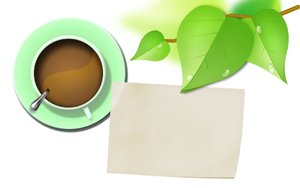 Coffee with leaves and paper: Lush leaves with green coffee cup and empty paper