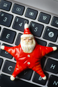 Star Santa on keyboard: Santa decoration on a computer keyboard