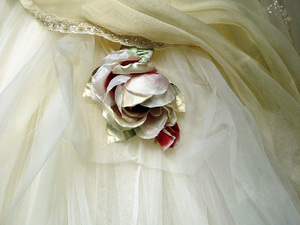 Wedding detail: Fabric rose on a wedding dress