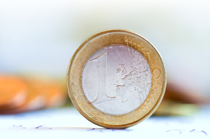 Euro coin close-up: Euro coin close up