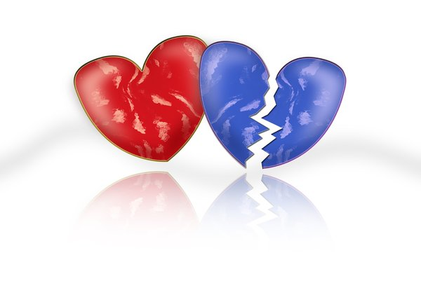 Red and blue heart: Red and blue broken heart