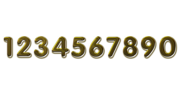 Golden numbers on white: Golden 3D numbers on white background