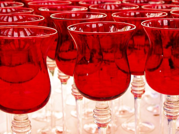 Red glasses: glass abstract