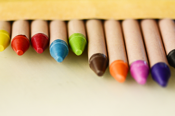 Crayons: Colorful wax crayons. Shallow DOF.