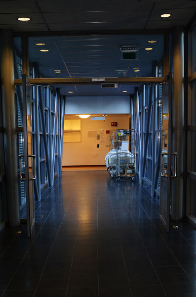 Hospital hallway: Dark hospital hallway or corridor